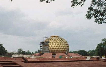 The Matrimandir, a golden metallic sphere in the center of town