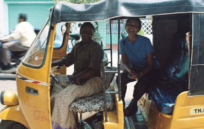 Taken in 2005 and she is still the only female auto driver I have ever seen
